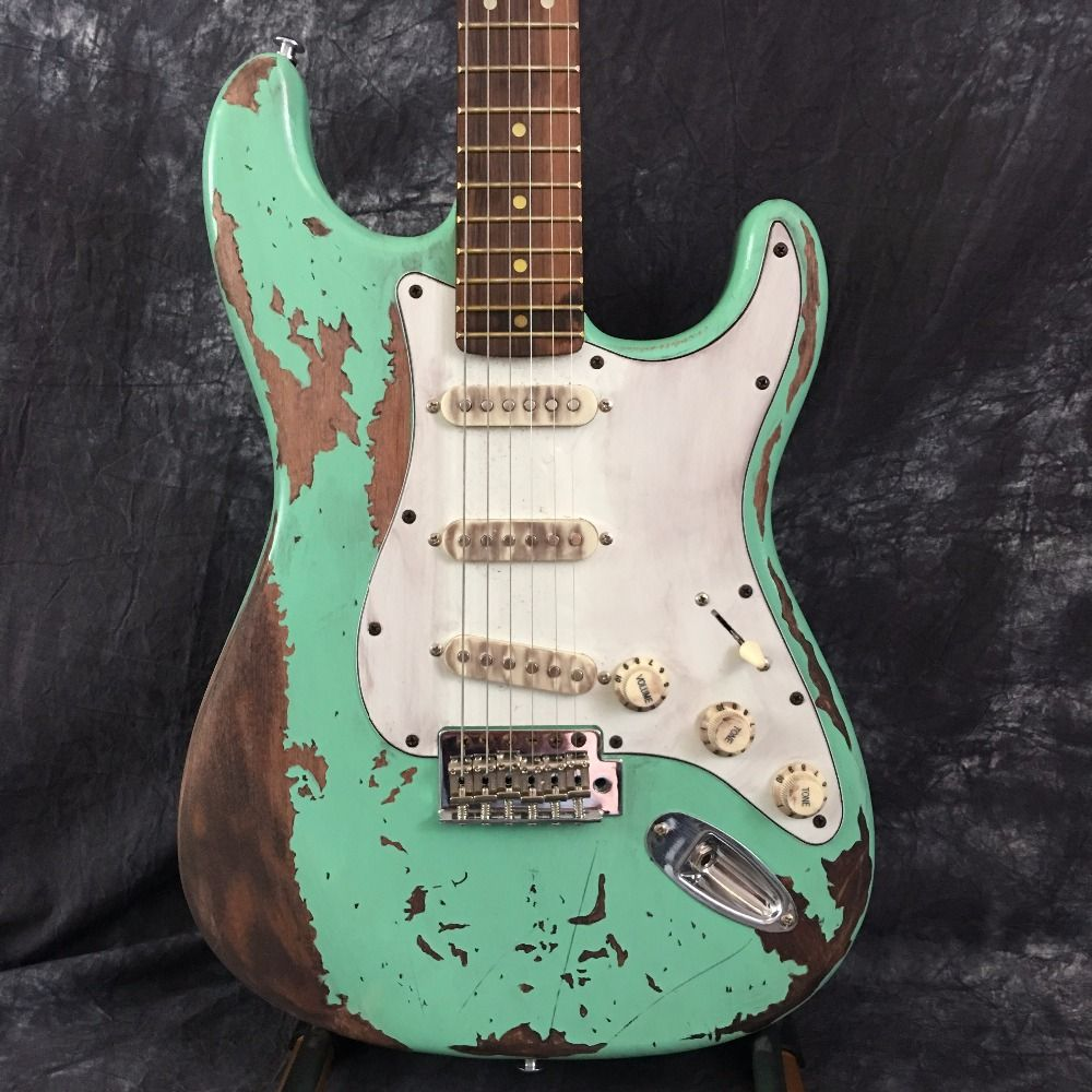Custom Shop, klassische Grün St E-gitarre reliquien durch hand. unterstützung anpassung. 100% handgemachte st Gitarren Limited Edition