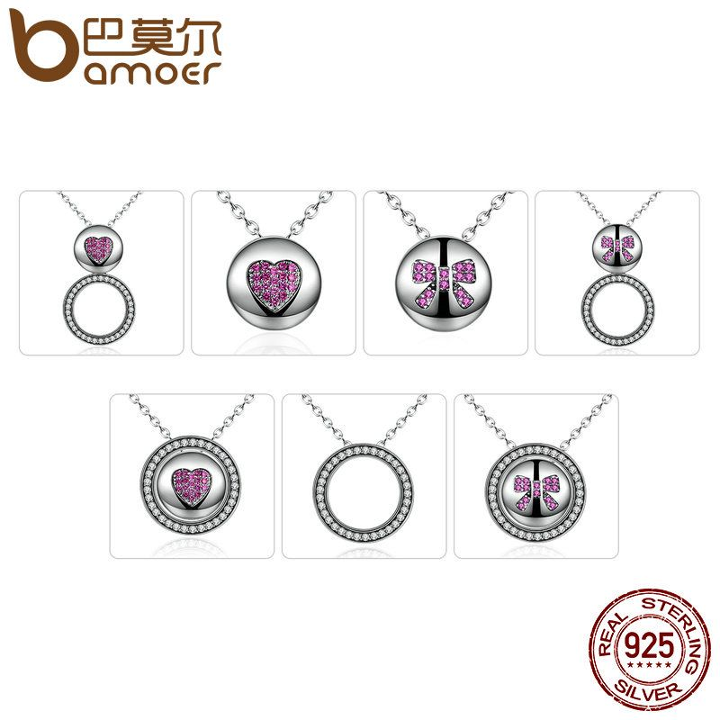 BAMOER 100% 925 Sterling Silver Red Heart & Bowknot Pendants & Necklaces for Women DIY Multifunctional Jewelry SCN056