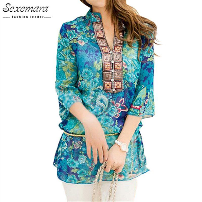 2019 été femmes chemise Blouse Style mode en mousseline de soie demi manches grande taille 5XL Floral haut décontracté broderie femme tunique Blouses