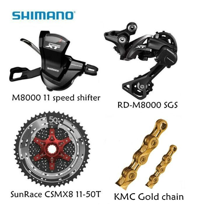 Shimano M8000 4pcs 1x11 groupset kit Spd M8000 Shifter Rear derailleur Sunrace CSMX8 11-46T 11-50T Cassette K7 KMC Gold chain