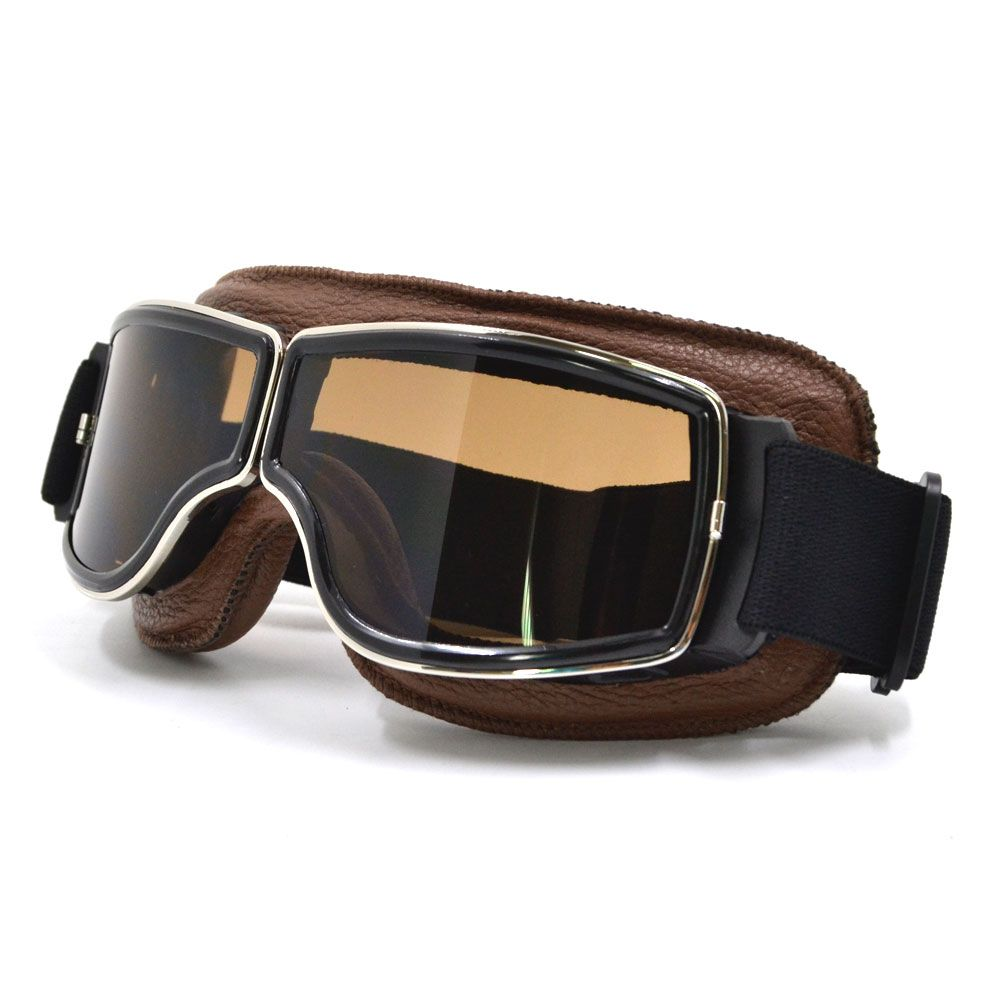 NEW Harley Style <font><b>Motorcycle</b></font> Glasses Pilot Motorbike Goggles Leather Retro Jet Helmet Eyewear
