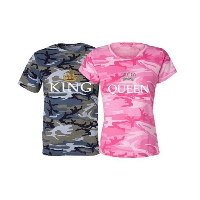 KING QUEEN imprimé Camouflage femme t-shirt Couple t-shirt pour les hommes amoureux t-shirt haut pour femme Couple vêtements 2018 été hauts