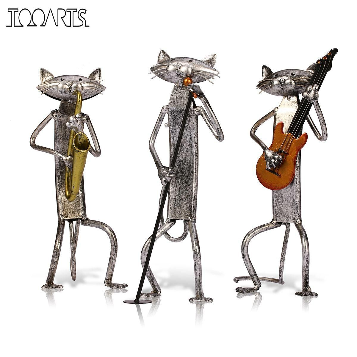 Tooarts Metal Figurine A Playing <font><b>Guitar</b></font>/Saxophone/Singing Cat Figurine Furnishing Articles Craft Gift For Home Decoration