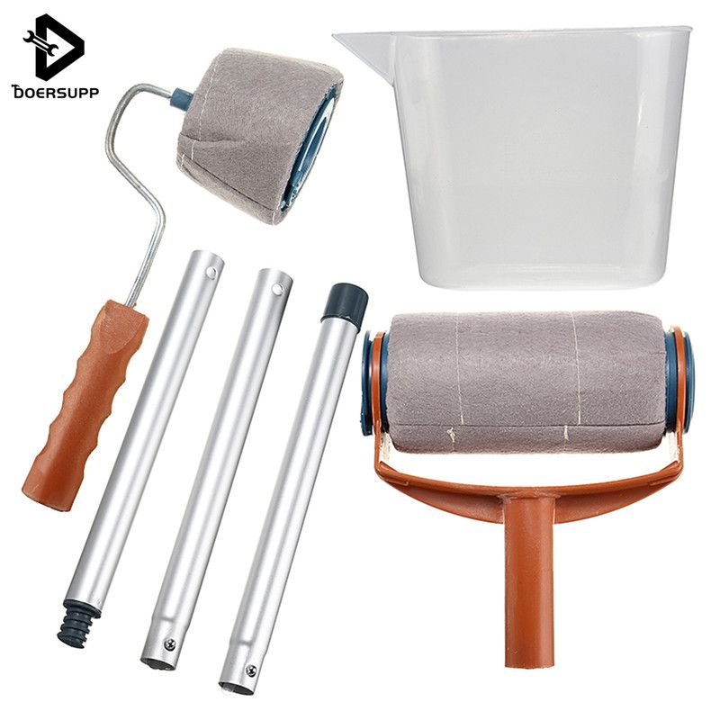 Doersupp DIY Multifunction Paint Roller Set Kit Decorative Paint Roller Painting Brush Household Wall Paint Tool Sets