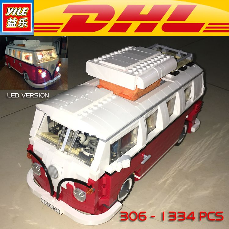 Yile 306 Creator Volkswagenn LED Light Up T1 Camper Van Building Blocks 10220 technic bricks action figure car toys for children