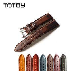 TOTOY Buatan Tangan Tali Kulit Watchbands 20 MM 22 MM Retro Lembut, Multicolor Opsional, Pengiriman cepat