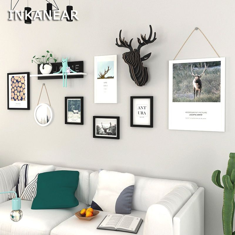 Large Size Modern Fashion Painting Photo Frame Set with Shelf Solid Wood Deer Head Home Decor Wall Decoration Board HF120dm