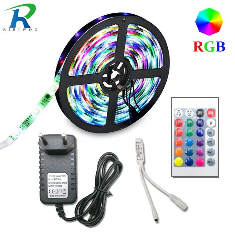 5m 10m 15m 20m SMD 2835 RGB LED Strip light flexible led tape diode ribbon waterproof 220V 24key controller DC 12V adapter set