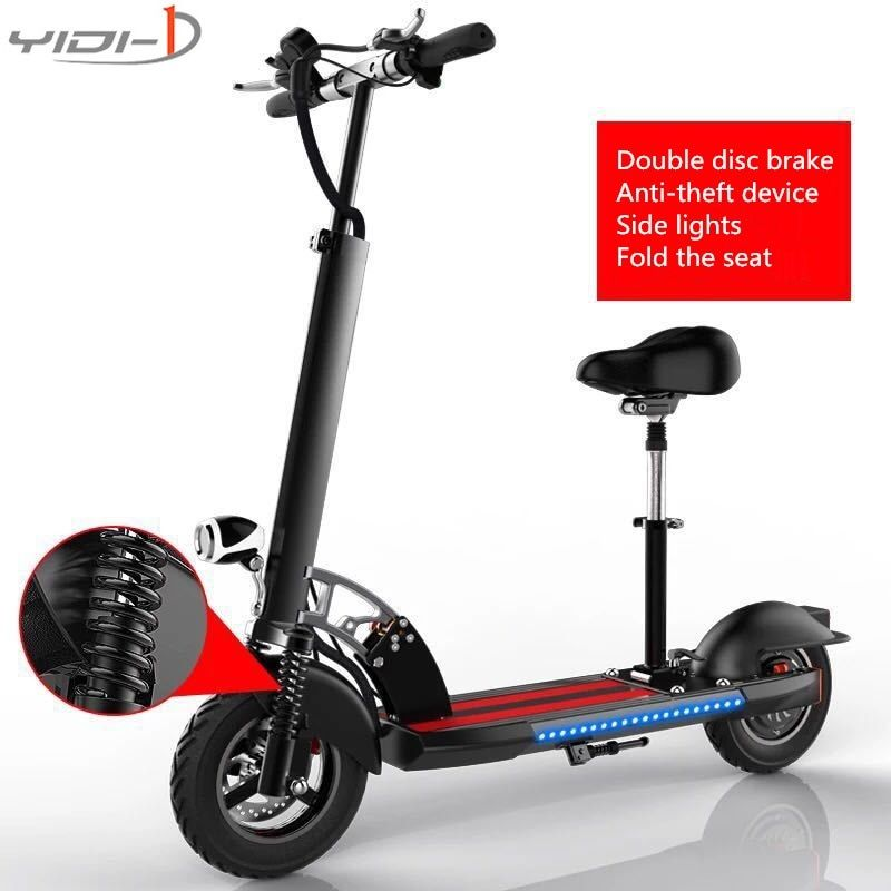 10 inch tires 48V electric scooter folding bike city two adult damping lithium battery car anti-theft device side seat belt