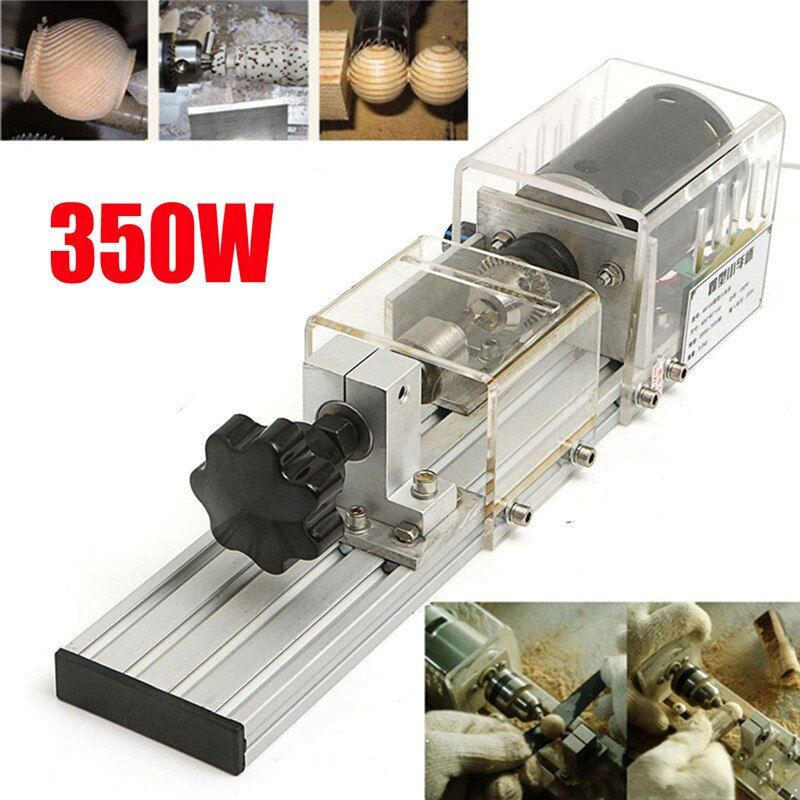 350W Precision Mini Wood Lathe Machine DIY Woodworking Lathe Polishing Cutting Drill Rotary <font><b>Tool</b></font> Standard Set Bench Drill
