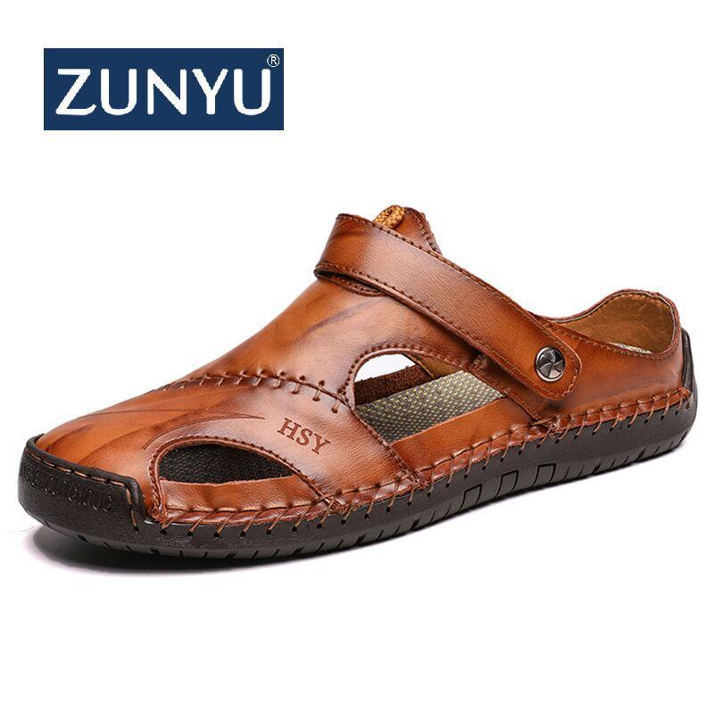 ZUNYU nouveau décontracté hommes doux sandales confortable hommes d'été en cuir sandales hommes romain d'été en plein air plage sandales grande taille 38-48
