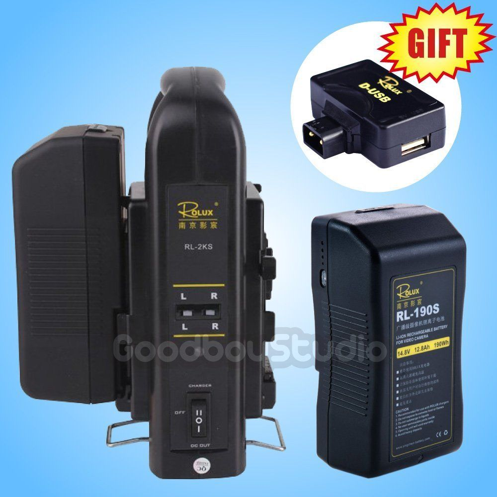 2PCS Rolux RL-190S 190Wh S0ny V-mount Li-ion Battery + RL-2KS 2-Channel Charger