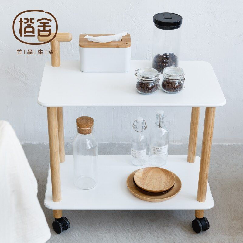 Kitchen Trolley Bamboo Coffee Table On the Wheel Storage Holder Multipurpose Shelf Display Rack Home Furniture ZEN'S BAMBOO