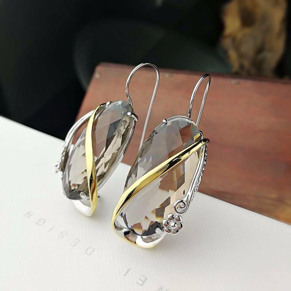 L & P 2018 New Fashion Echt Silber Rauchquarz Ohrringe für Lady Original Design Eleganz 925 Sterling-silber luxus Edlen Schmuck