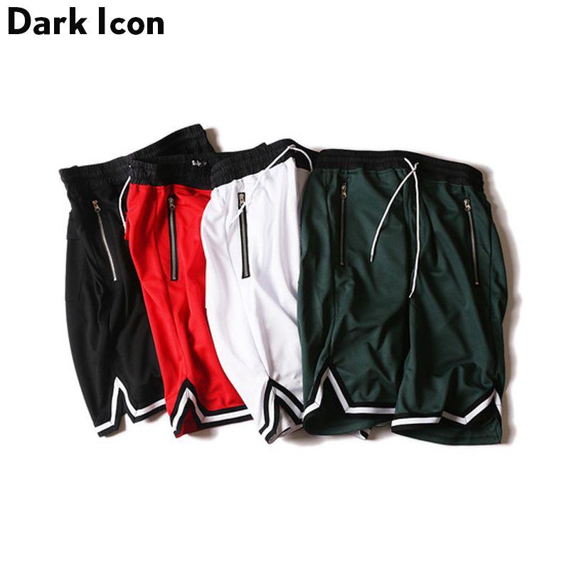 DARK ICON Color Contrast Drop Crotch Hip Hop Mens Shorts 2018 Summer Hip Hop Baggy Shorts Men Breathable Jersey Material Shorts