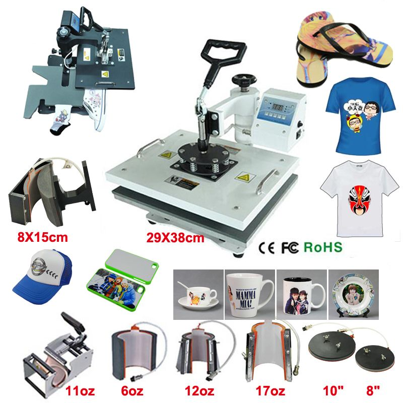 29*38CM 8 in 1 Combo Heat Press Printer Machine 2D Thermal Transfer Printer for Cap Mug Plate T-shirts Printing