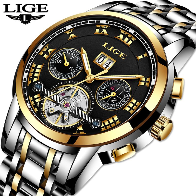 LIGE Top Brand Luxury Men's Automatic Mechanical Watch All Steel Waterproof Watch Men's Fashion Business Watch Relogio Masculino