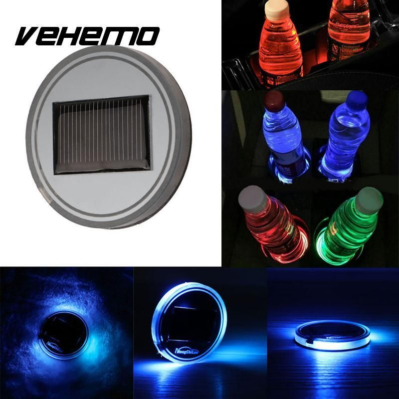 Vehemo 3 Colors Car Anti-Slip Mat Waterproof Solar LED Light Cup Holder Mat Drinks Universal  Car-styling For BMW E46 FORD FOCUS
