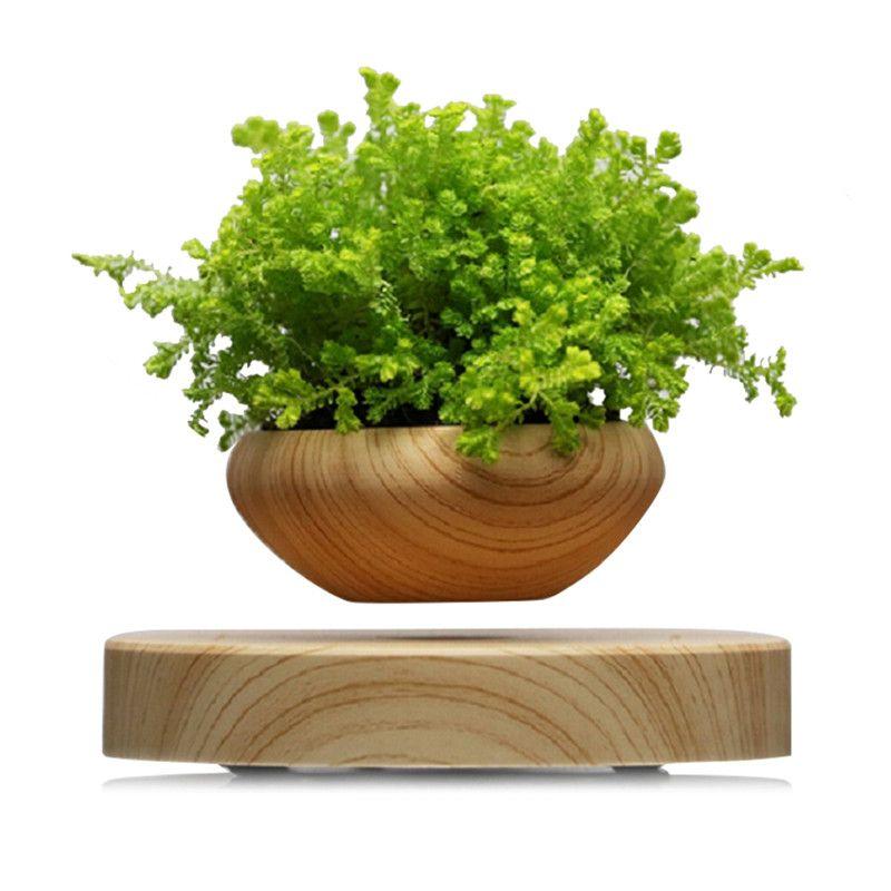 Magnetic Suspended Flower Pot Wood Grain Round LED Levitating Indoor Air Plant Pot No Plant EU US AU UK Plug