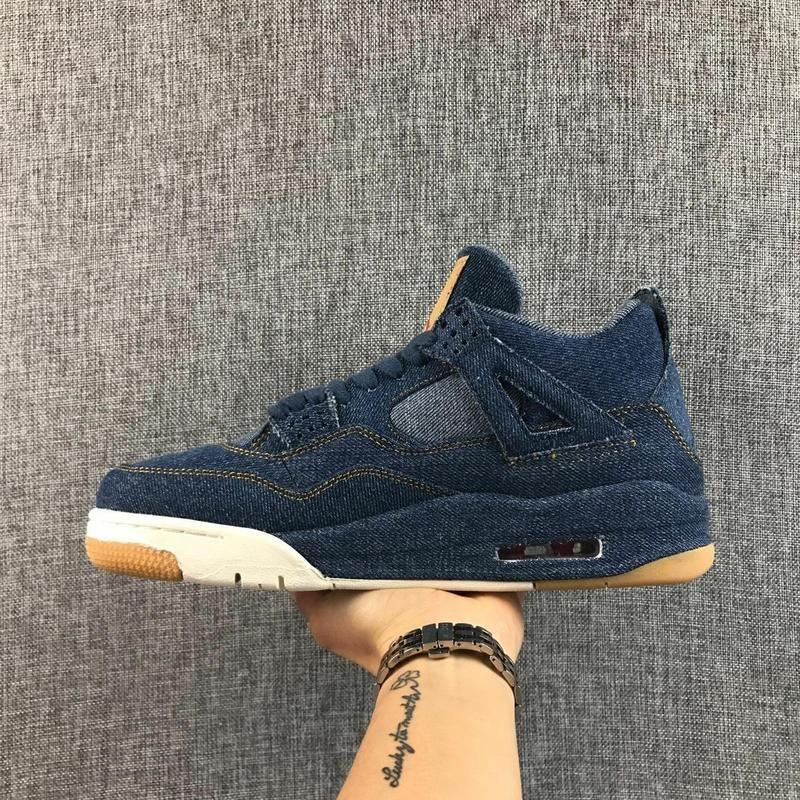 Jordan Air Retro 4 Men Basketball Shoes x LES blue Breathable Men's Basketball Shoes Sports Sneakers Outdoor 41-46