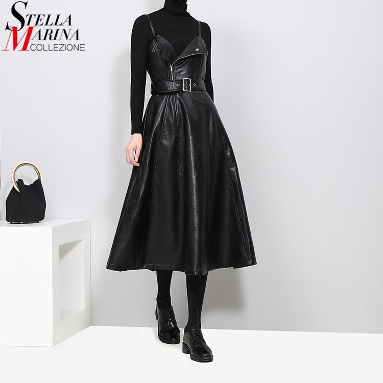 New 2018 Autumn Winter Women Faux Leather Black Dress Belt A-Line Spaghetti Strap Sleeveless Evening Party Club Wear Dress 3014