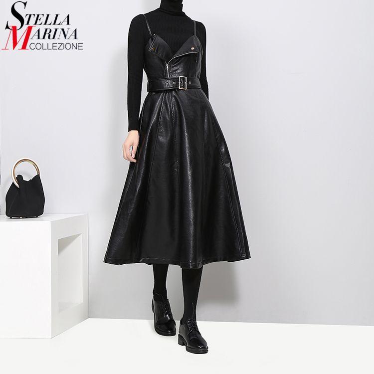 New 2018 Autumn Winter Women Faux Leather Black Dress Belt A-Line Spaghetti Strap Sleeveless Evening Party Club Wear Dress 3014