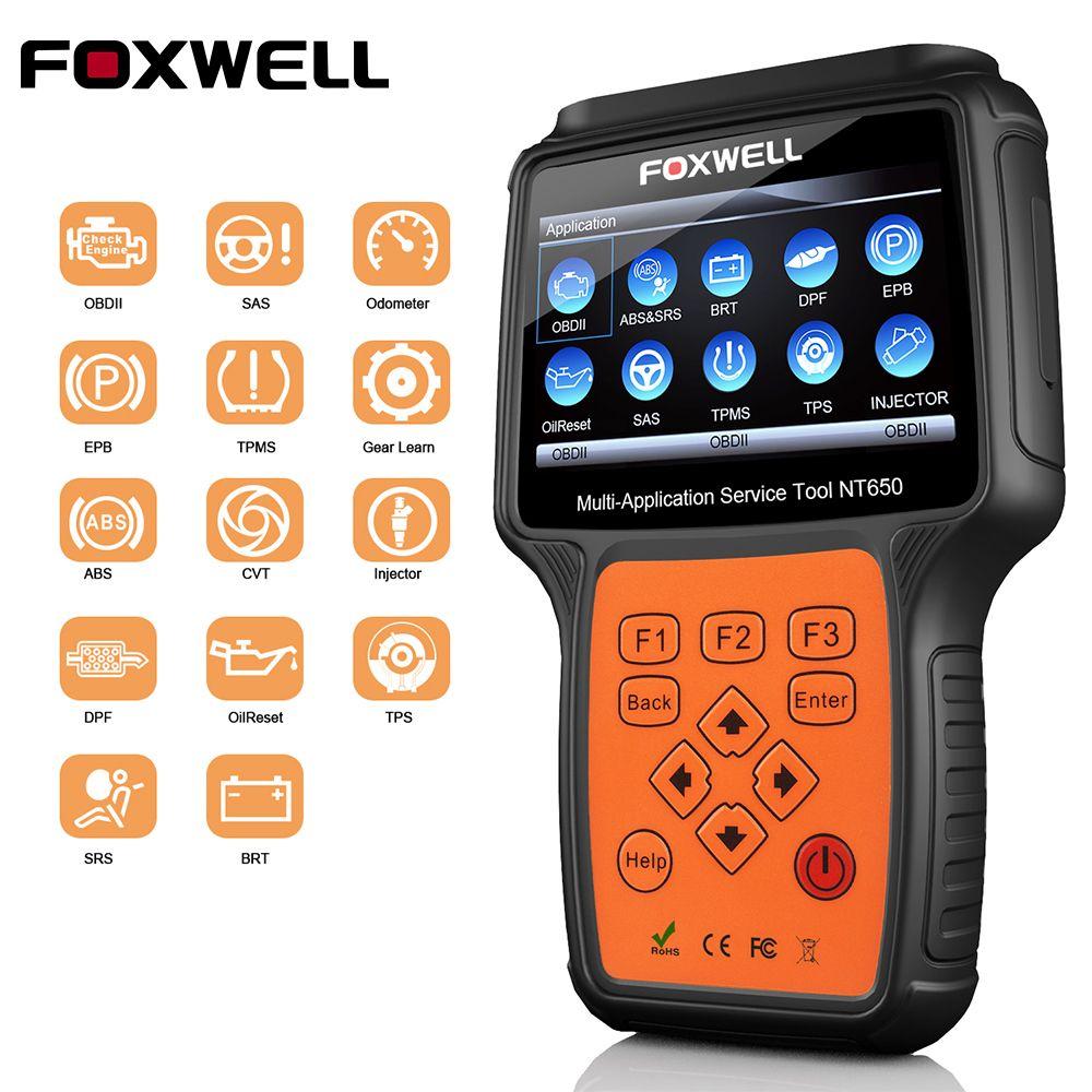 ODB2 OBDII Scanner Automotive FOXWELL NT650 OBD2 Diagnose Werkzeug ABS Airbag SAS EPB Öl DPF TPMS TPS BRT Reset Auto code Reader