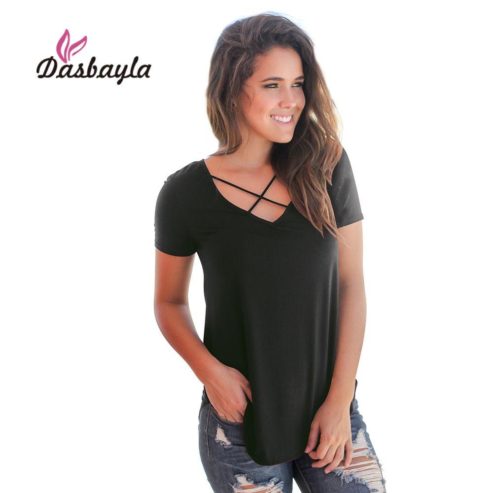 Dasbayla T Shirt Women Solid Criss-Cross V Neck long tee shirt tops 2018 Casual Basic Short Sleeve t-shirt For Female Ladies