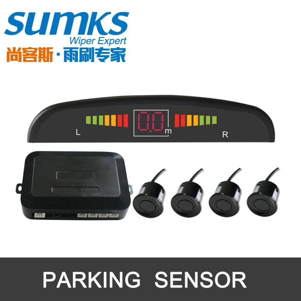 Buzzer car parking assistance with 4 sensors and LED display Reverse <font><b>Backup</b></font> Radar Alert Indicator System 7 colors to choose