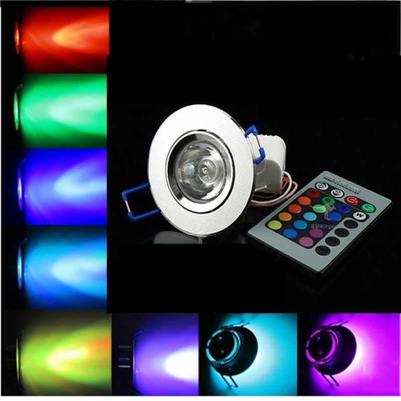 AC 85~265V 16 colors changing 3W RGB LED spot light spotlight ceiling light bulb with remote control