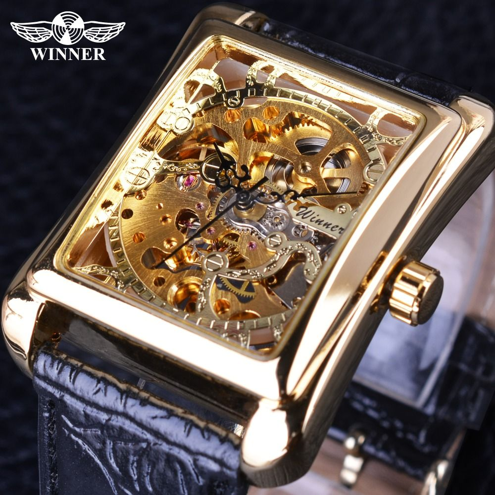 Winner 2017 Retro Casual Series Rectangle Dial Design <font><b>Golden</b></font> Pattern Hollow Skeleton Watch Men Watch Top Brand Luxury Mechanical