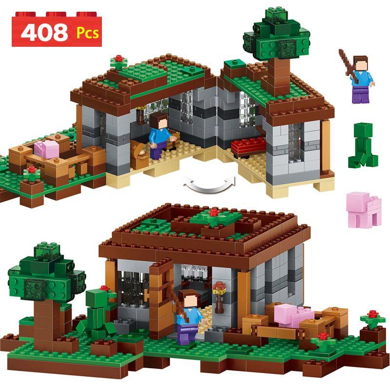 408 pièces ma série mondiale modèle blocs de construction Kit Compatible LegoINGLYS Minecrafter Village château jouets éducatifs pour les enfants