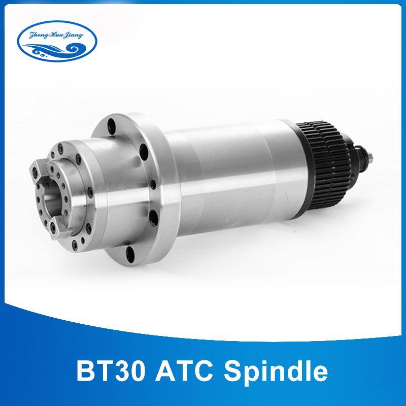 ATC spindel BT30 Spindel Cnc-fräsen Rounter Elektrischen Spindelmotor 220 V mit Zahnriemen für BT30 Frühling + Deichsel