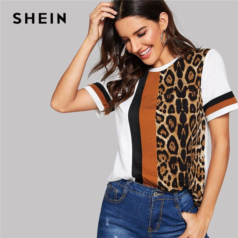 SHEIN blanc couleur bloc coupe-à-coudre léopard panneau haut à manches courtes o-cou décontracté t-shirt femmes 2019 été loisirs t-shirt hauts