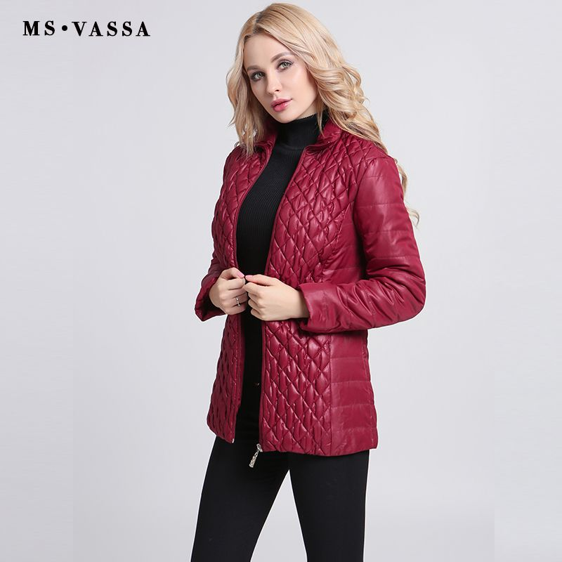 MS VASSA Autumn Parkas Women short cotton padded Jackets 2017 fashion quilting ladies elastic coats plus size 6XL 7XL outerwear