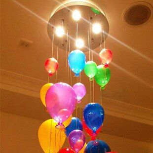 Fashion modern led children bedroom colorful balloon pendant light multicolour glass ball dining room stair droplight lamp