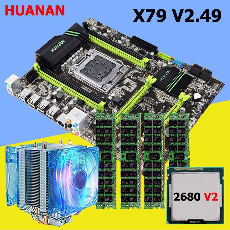 HUANAN V2.49 X79 MOTHERBOARD-FREIES CPU RAM set mit kühler Xeon E5 2680 V2 RAM 32G (4*8G) DDR3 RECC NVME SSD M2 port MAX 4*16G speicher