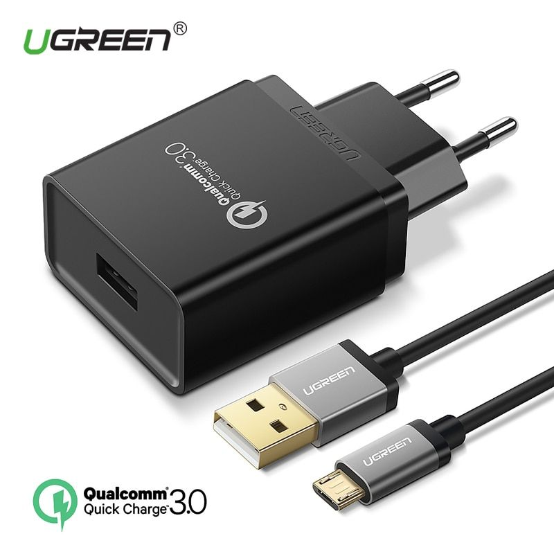 Ugreen USB Charger 18W Quick Charge 3.0 Mobile Phone Charger for iPhone Fast Charger Adapter for Huawei Samsung Galaxy S9+ S8+