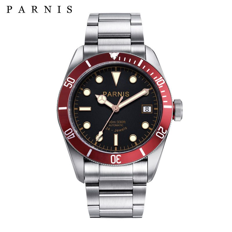 41mm Parnis Automatic Watch Full Stainless Steel Luminous 21/24 Jewle Luxury Brand Men's Mechanical Watches PA6050 Gifts for Men