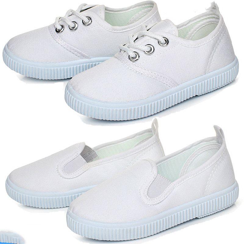 2019 printemps enfants sport enfants blanc Gym chaussures filles garçons blanc toile chaussures bébé fond souple baskets garçon chaussures petites filles
