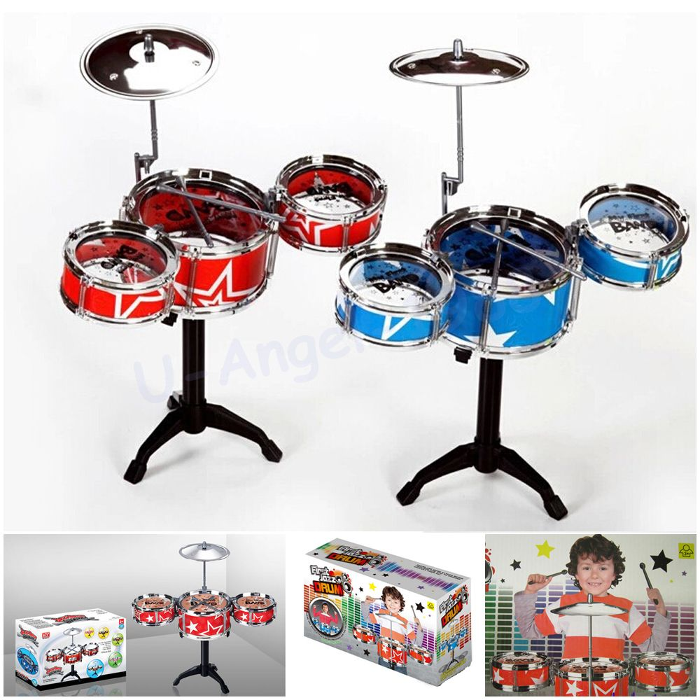 Christmas Gift Idea <font><b>Children</b></font> Toys Drum Set Boys Girls Play Music Develop Intelligence blue and red for choose + Free shipping