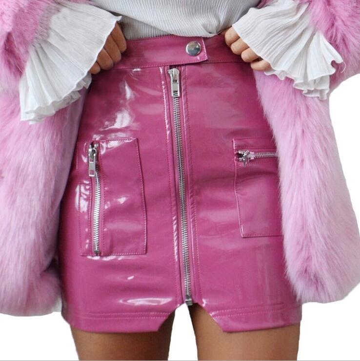 2018 summer new high waist zipper PU leather skirt