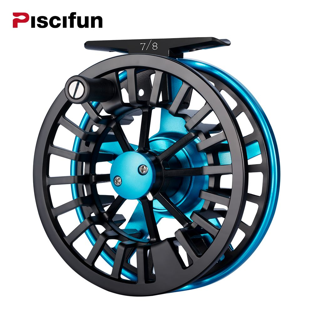 Piscifun AOKA Aluminum 5/6 7/8WT Fly Reel Mid-arbor Cork/Teflon Disc Drag System Oversized Handle Fly Fishing Reel