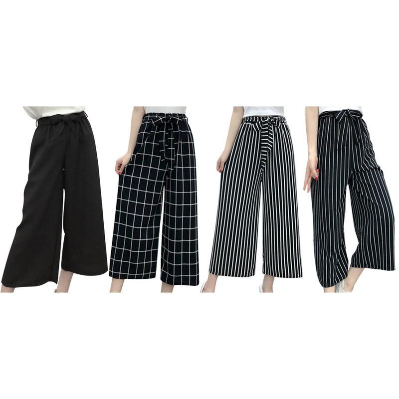 Summer New Striped Style Black Loose High Waist Crop Casual Pants Women One Size Chiffon Wide-leg Pants Plus Size