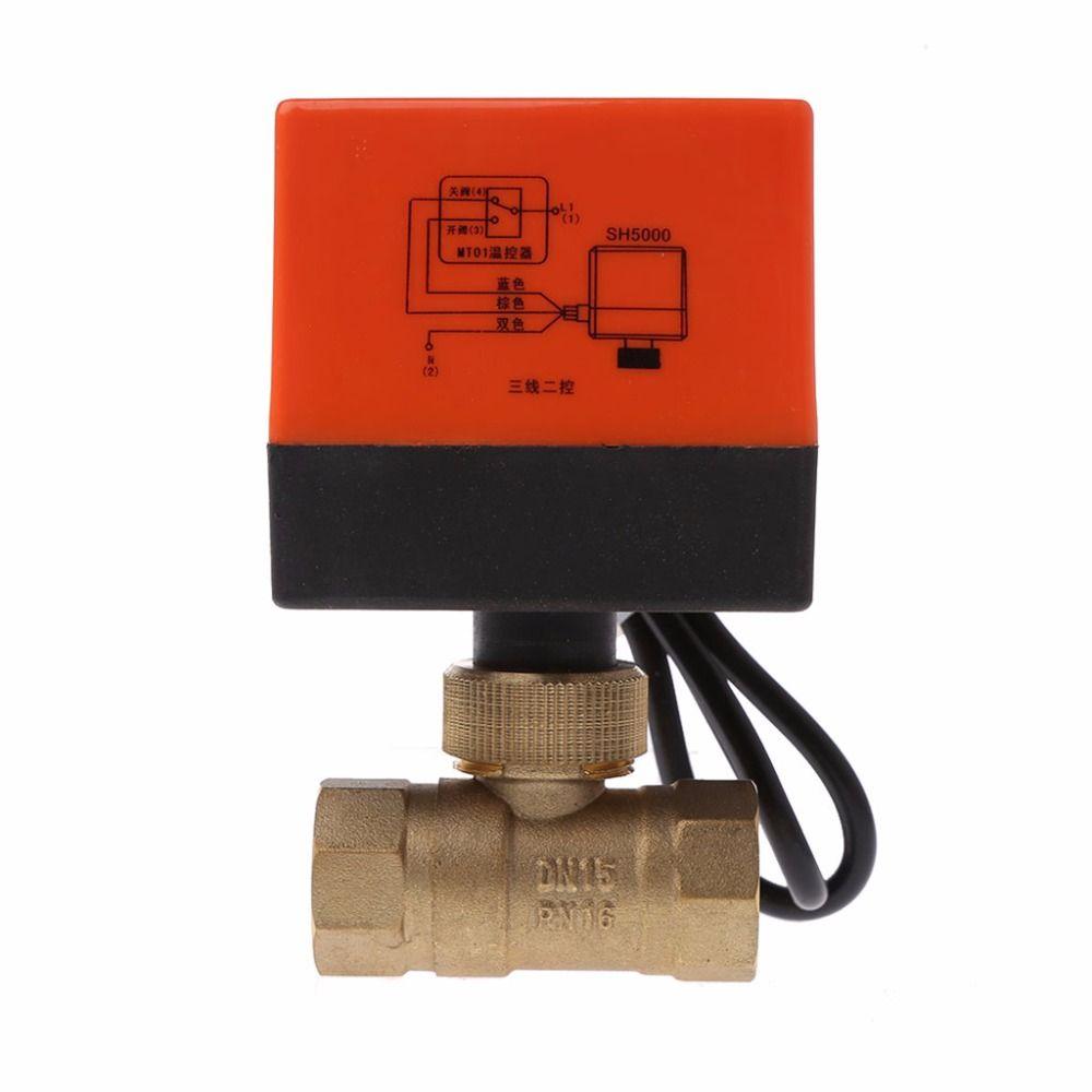 DN15/DN20/DN25 robinet à tournant sphérique en laiton motorisé électrique DN20 AC 220 V 2 voies 3 fils avec actionneur