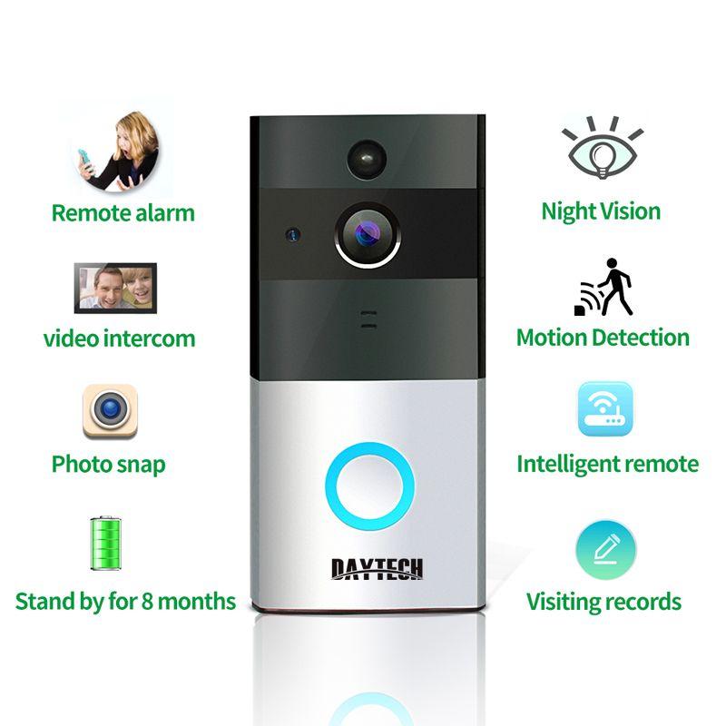 Daytech Беспроводной Wi-Fi видео звонок 1.0MP дверной звонок Камера Ночное видение двухстороннее аудио Батарея Управление + indoor перезвон