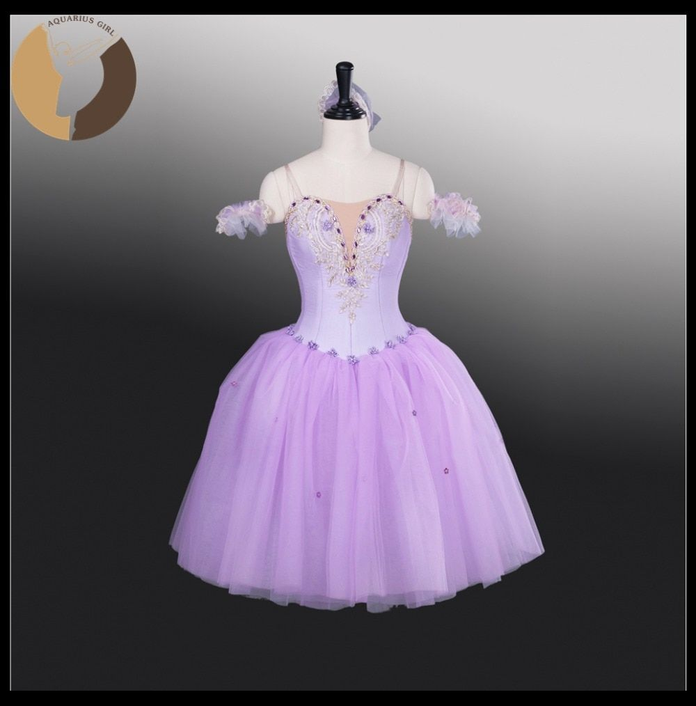 Lilac Long Tutu Dress Miti-Dress 6 Lyaers Dance Costumes With Headwear Fairy Dresses Custom Made In China Ballerina Wear AT1261