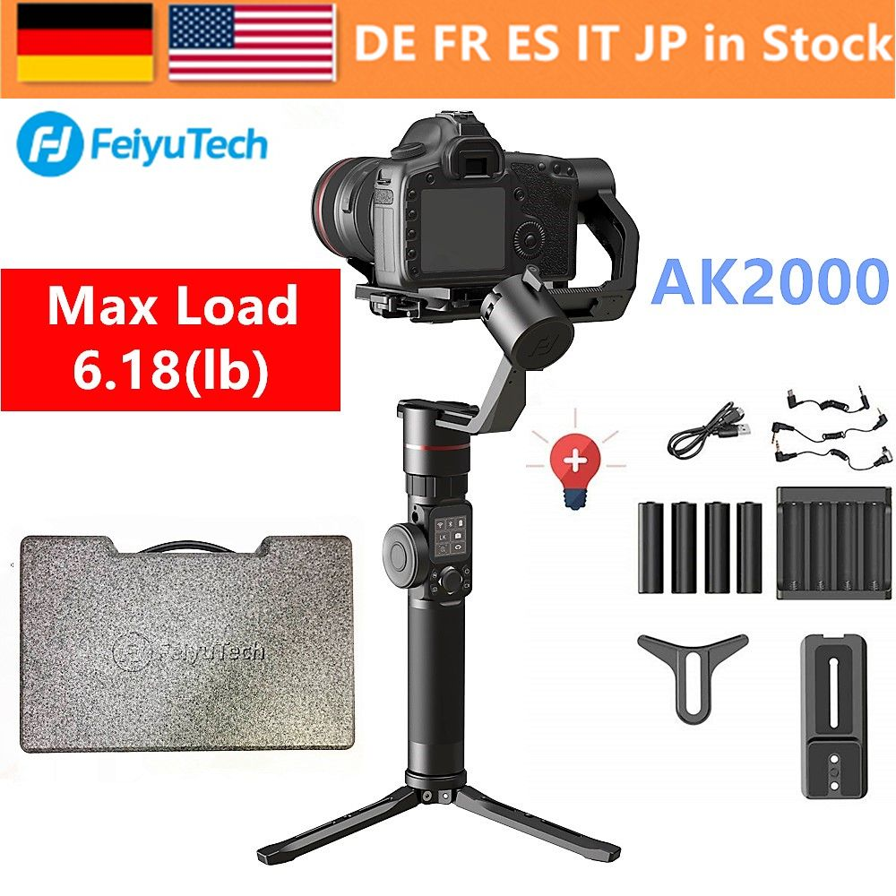 FeiyuTech Feiyu AK2000 3-Axis Handheld Camera Stabilizer Gimbal for Sony Canon 5D 6D Mark Panasonic GH5 Nikon D850 2.8kg Payloa