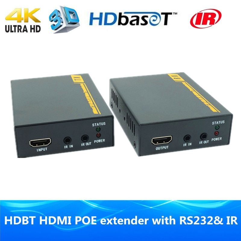 High quality 4K 3D HDBaseT POE extender 70m HDMI1.4v HDBT extender over Ethernet RJ45 cat6 cable with Bidirectional IR & RS232