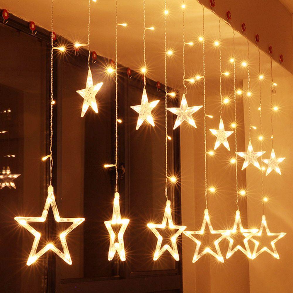 Behogar 2.5m 138 LED Warm White Light 12 Twinkling Star Curtain String Light Christmas Fairy Wedding New Year Decorative Lamp
